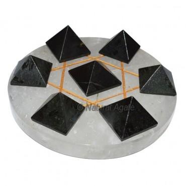 David Stara 7 Black Tourmaline Pyramids with Cryst
