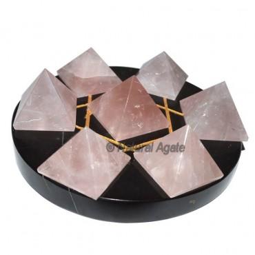 Rose Quartz 7 Pyramids with Black David Star Base