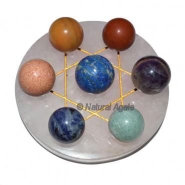 David Star 7 chakra Ball with Rose Base
