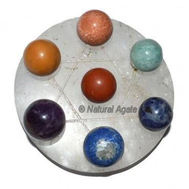 7 chakra Ball with Crystal Quartz David Star Base