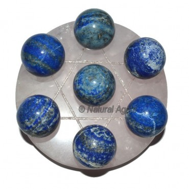 7 Lapis Ball with Rose David Star Base