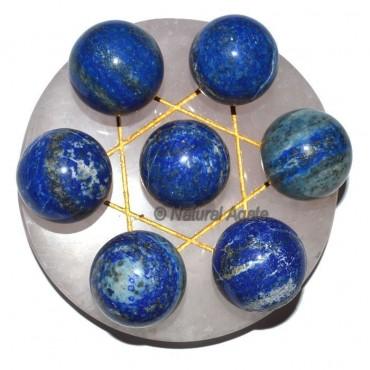 7 Lapis Ball with Rose Gold David Star Base