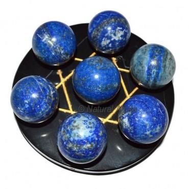 7 Lapis Ball with Black Gold David Star Base