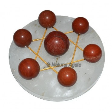 7 Red Jasper Ball with Crystal Gold David Star Bas