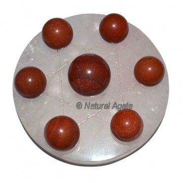 7 Red Jasper Ball with Rose David Star Base