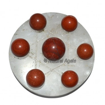 7 Red Jasper Ball with Crystal David Star Base