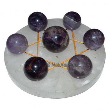 7 Amethyst Ball with Crystal Gold David Star Base