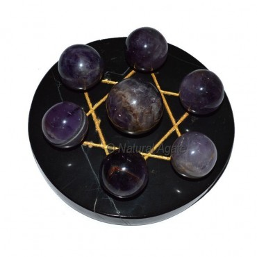 7 Amethyst Ball with Black Gold David Star Base