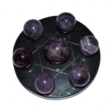 7 Amethyst Ball with Black David Star Base