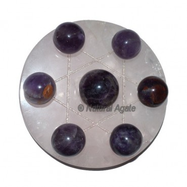 7 Amethyst Ball with Rose David Star Base