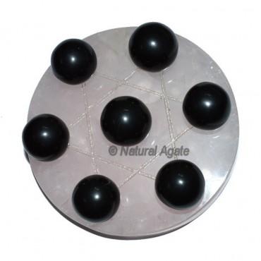 7 Black Agate Ball with Rose David Star Base