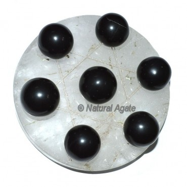 7 Black Agate Ball with Crystal David Star Base