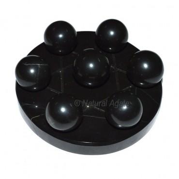 7 Black Agate Ball with Black David Star Base