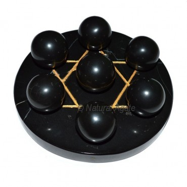 7 Black Agate Ball with BlackGold David Star Base