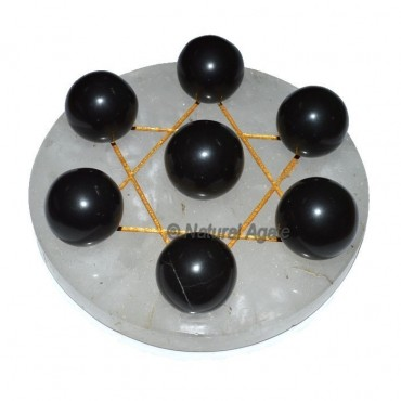 7 Black Agate Ball with Crystal Gold David Star Ba