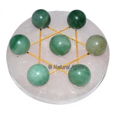 7 Green Aventurine Ball with  Rose Gold David Star