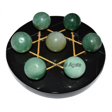 7 Green Aventurine Ball with  Black Gold David Sta