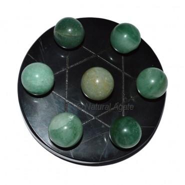 7 Green Aventurine Ball with  Black David Star Bas
