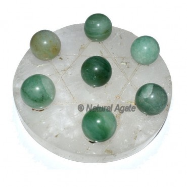 7 Green Aventurine Ball with  Crystal David Star B