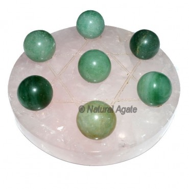 7 Green Aventurine Ball with  Rose David Star Base
