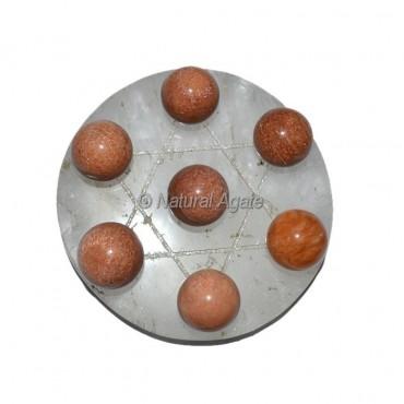 Peach Aventurine Ball Chakra David Star Disc