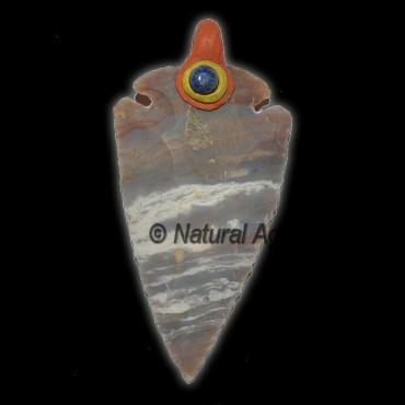 Fancy Jasper Tibetan Arrowheads Pendants with Lapi