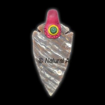 Fancy Jasper Tibetan Arrowheads Pendants