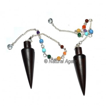Rose Wood Long Cone Chakra Pendulums