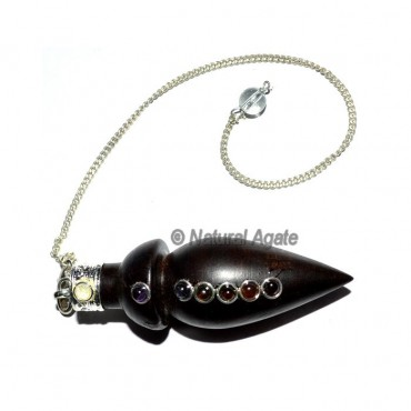 Rose Wood Chakra Cabs Bullet Pendulum