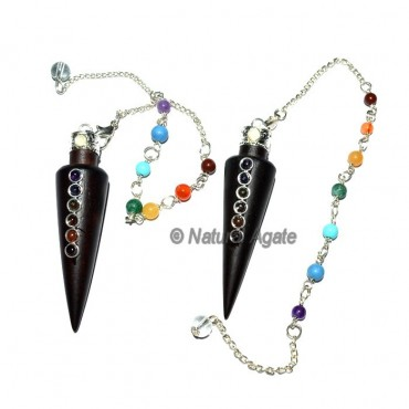Rose Wood Long Cone ChakraCabs with Chakra Chain P
