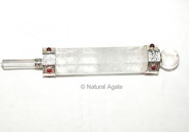 Crystal Quartz Plane Wands with Garnet