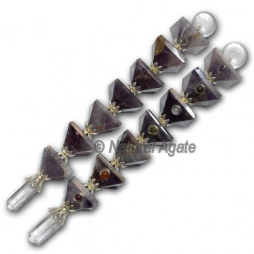 Amethyst Pyramids with 7 chakra cabs wands