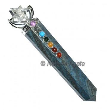 Lapis Lazuli Chakra Wands with Merkaba Star