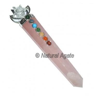 Rose Quartz  Chakra Wands with Merkaba Star