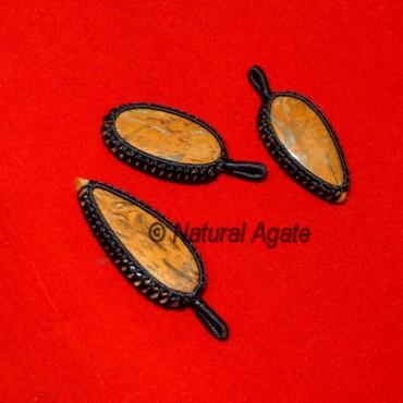 Calligraph Wrap Oval Pendants