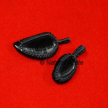 Black Agate Wrap Cabs Pendants