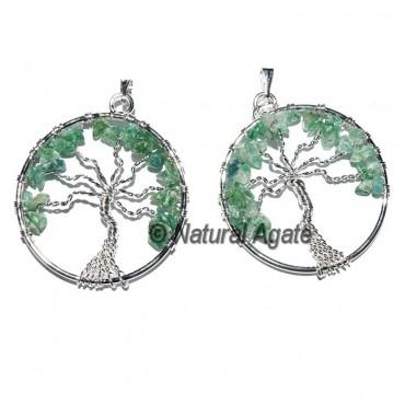 Flower of Life green Jade Tree Pendants