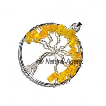 Flower of Life Citrine Tree Pendants