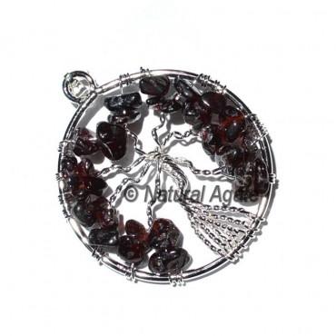 Garnet Flower of Life Tree Pendants