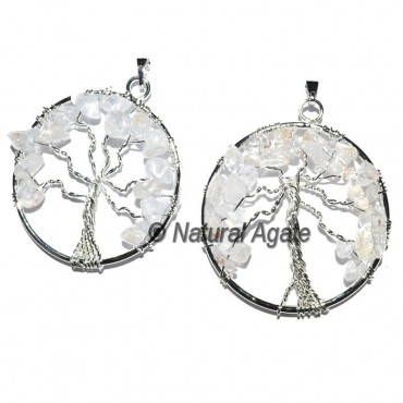 Crystal Quartz Flower of life Tree Pendants
