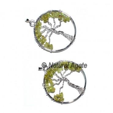 Peridot Flower of life Tree Pendants