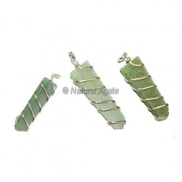 Green Flat Pencil Wrap Pendants
