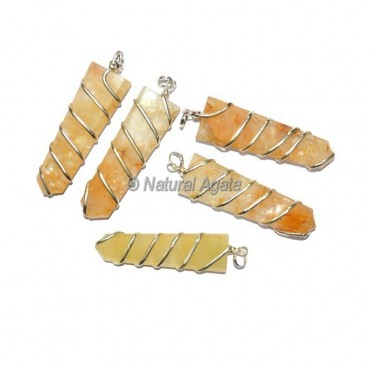 Golden Quartz Flat Pencil Wrap Pendants