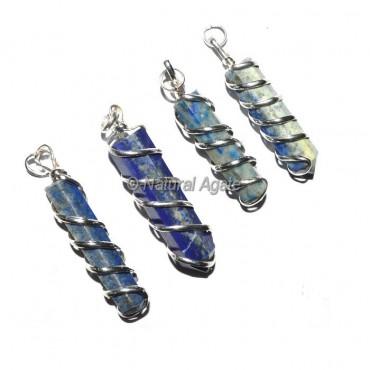 Lapis Lazuli Pencil Wrap Pendants