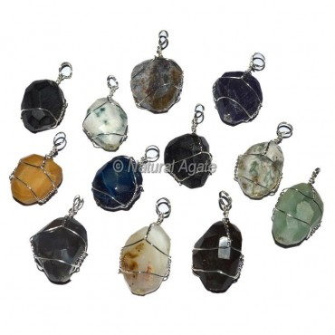 Faceted Wire Wrap Pendants