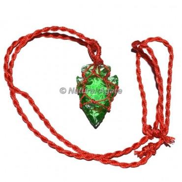 Green Aventurine Arrowhead Wire Wrap Pendants