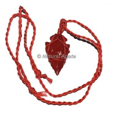 Red Glass Arrowhead Wire wrap Pendants