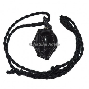 Black agate Tumble Stone Wire Wrap Pendants