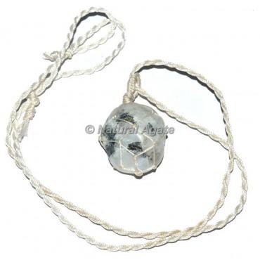 Moon Tumble Stone Wire Wrap Pendants
