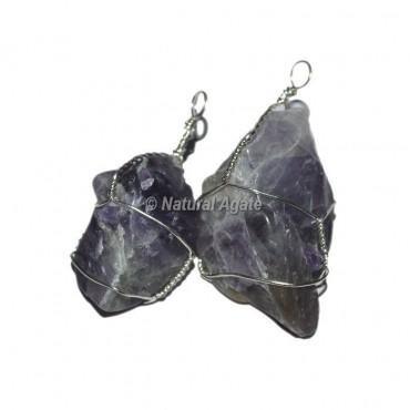 Amethyst Tumble Stone Wrap Pendants